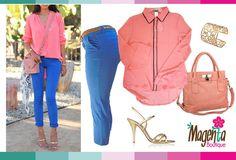 coral blouse, blue capri pant, pink handbag