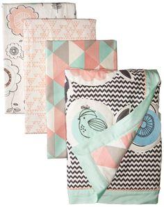 Amazon.com : Lolli Living Sparrow 4 Piece Crib Set, Grey/Pink/Turquoise/White : Baby