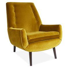Mr. Godfrey Chair. I love the Venice Lichen Velvet with Wenge legs. $2,295.