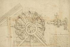 Leonardo Da Vinci - Great sling rotating on horizontal plane great wheel and crossbows devices from Atlantic Codex