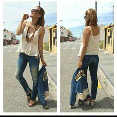Boho outfit verano summer con vaqueros salsa jeans, collar plumas, cuña vaquera