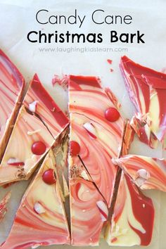 Candy Cane Christmas Bark recipe that is so easy and simple your children can make it - Laughing Kids Learn Christmas Bark, Christmas Desserts, Simple Christmas, Christmas Treats, Handmade Christmas, Christmas Holidays, Christmas Recipes, Christmas Stuff, Holiday Recipes