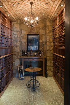 Design ideas for a mediterranean wine cellar in Dallas with storage racks. Description from houzz.com. I searched for this on bing.com/images