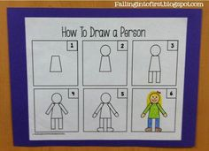How to draw a person for kindergarten writing/Directed Drawing Drawing Lessons, Art Lessons, Drawing Skills, School Fun, Art School, School Ideas, School Stuff, Directed Drawing, Ecole Art