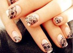 Vintage lace nail design