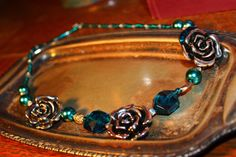 Teal and Silver Rose Beaded Necklace by RubysJewelry1 on Etsy, $30.00