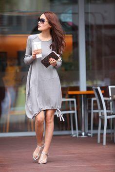 Lagenlook Cotton knitwear Dress for Women in Grey - Etsy.