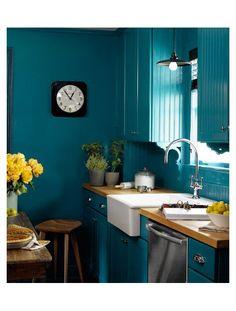 Cuisine bleu canard  : idées décoration cuisine bleue