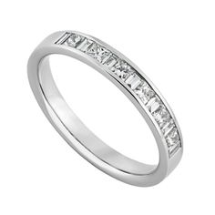 Platinum 050 Carat Princess Cut And Baguette Diamond Eternity Ring Fraser Hart GBP