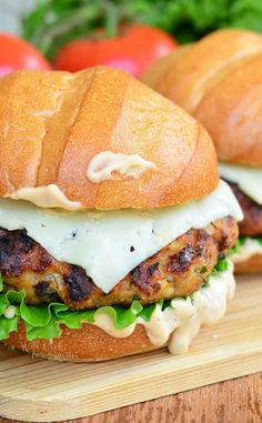 Spicy Chipotle Chicken Burger Recipes Juicy, spicy, flavorful chicken burgers made with chipotle peppers in adobe sauce inside and served with melted cheese, lettuce, an. Ground Chicken Burgers, Ground Chicken Recipes, Turkey Burgers, Best Chicken Recipes, Chicken Flavors, Burger Recipes, Grilling Recipes, Cooking Recipes, Healthy Recipes