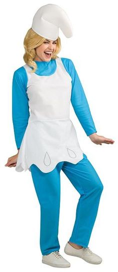 The Smurfs, Smurfette Adult Costume includes a blue top with attached white dress, blue pants and smurf hat. Costume available in adult standard size only.