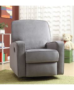Colton Gray Fabric Modern Nursery Swivel Glider Recliner Chair Grey Baby Pinterest Nurseries And