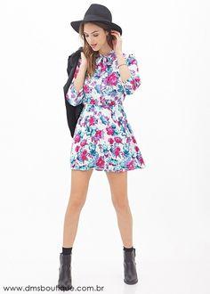 Vestido Estampado Floral Manga 3/4 - Vestidos | DMS Boutique