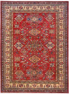 """Red Oriental Kazak Rug 5' 9"""" x 7' 8"""" (ft) - No. 10476  http://alrug.com/red-oriental-kazak-rug-5-9-x-7-8-ft-no-10476.html"""