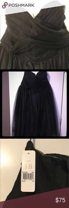 "Donna Morgan Collection tea-length gown Donna Morgan tea length black tulle gown. Size 18. Never worn NWT! I am 5'7"" and the dress hits right below my knees. Beautiful, flirty, and fun! Donna Morgan Dresses Strapless"
