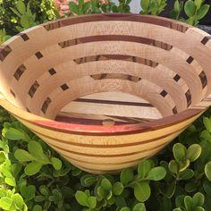 Maple, bubinga, zebra wood and walnut bowl