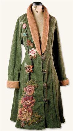 Gypsy:  #Bohemian fashion ~ Spanish Moss Fleece Coat. like the idea of adding fabric flowers to flat coloured coats Pinned by @Manaro Design  Jewelry | Beading | Bracelet | Necklace | Earrings
