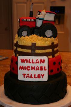 Baby shower tractor cake