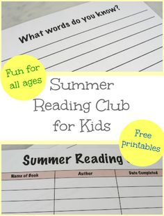 Summer Reading Club for Kids - free printable reading club sheets that help track summer reading, challenge kids' story comprehension and help kids' explore creative writing.