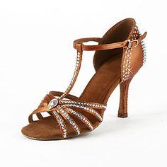 Women's Satin / Rhinestone Upper T-Strap Latin / Salsa Dance Shoes – USD $ 39.20