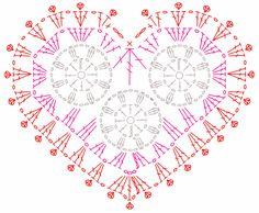 Ажурное сердце крючком схема