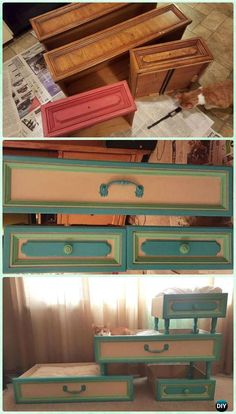 Cats Toys Ideas - DIY Old Drawer Cat Climbing Bed Condo Instruction - Practical Ways to Recycle Old Drawers for Home - Ideal toys for small cats Cat Furniture, Repurposed Furniture, Furniture Stores, Furniture Refinishing, Steel Furniture, Refurbished Furniture, Furniture Ideas, Pet Beds, Dog Bed