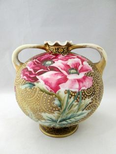 Hand Painted Nippon Coralene Vase.