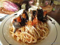 Makaronada With Fried Baby Eggplant - Kalofagas - Greek Food & Beyond - Kalofagas - Greek Food & Beyond