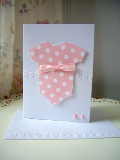 baby girl onesie card new baby card baby thank by JDooreCreations