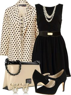 """Classy back dress with polka dot trench coat"" by leilani-almazan on Polyvore"