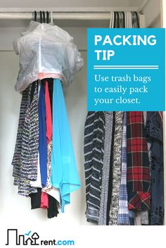 Packing tip: Use trash bags to easily pack your closet. Group together 10-15 hangers, place a trash bag over them, then cinch at the bottom to keep in place. This simple packing tip is easy to do, and so helpful. Check out the rest of our packing tips to ease the stress of moving.