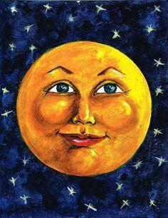 Man In The Moon Painting - Full Moon by Sarah Farren Sun Moon Stars, Sun And Stars, Shoot The Moon, Moon Shadow, Moon Illustration, Beautiful Moon, Luna Lovely, Moon Painting, Moon Face