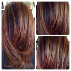 Balayage on dark hair... Love doing Carmel chestnut hi-lites for brunettes! | Yelp