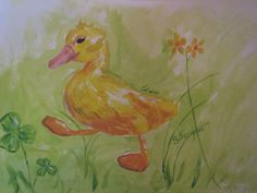 A duckling on the go, cute and fun, waddling among the clover, grass, and flowers. Its a truly fitting picture for a baby or childs room.