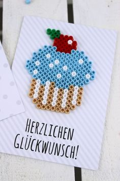 DIY Geburtstagkarten aus Bügelperlen selber machen - Geschenkidee Make your own DIY birthday cards from Hama iron beads + free template - the perfect gift idea for your birthday: DIY, DIY, do it yours Birthday Cards For Him, Birthday Cards For Boyfriend, It's Your Birthday, Happy Birthday, Handmade Crafts, Diy And Crafts, Crafts For Kids, Creative Crafts, Yarn Crafts