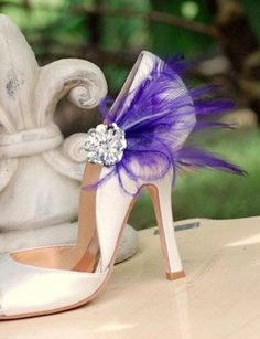 Shoe Clips Royal Purple Feathers & Silver Sequins. by sofisticata, http://sofisticata.etsy.com