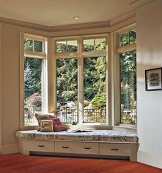 Jeld Wen Tradition Plus Pine AuraLast Casement Windows Transoms Decorative Grilles Low-E Glass Windows, House Design, Interior Design Bedroom, House Interior, Window Seat, Home, Interior Design Living Room, Bay Window Seat, Home Decor