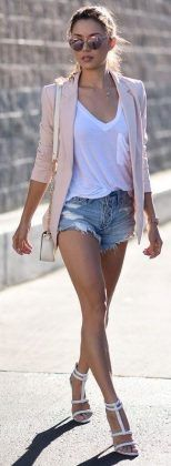 blush cardigan + white top + ripped denim short / #spring #summer #outfits #style