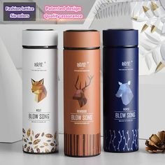 Fashion Thermos Water Bottle Creative Design Thermal Thermo Mug Insulated Vacuum Flasks Tea Milk Cup Tumbler Travel Thermocup Luxury Packaging, Coffee Packaging, Bottle Packaging, Notebook Cover Design, Thermal Mug, Vacuum Flask, Design Graphique, Grafik Design, Bottle Design