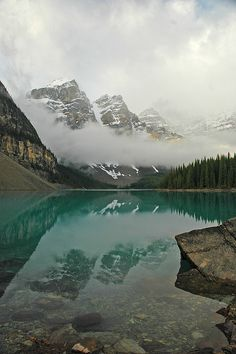 One of my special places: Magic of morning fog in the Valley of Ten Peaks at Moraine Lake, Canada (by sissonenphoto). Valley Of Ten Peaks, Places To Travel, Places To See, Wonderful Places, Beautiful Places, Places Around The World, Around The Worlds, Canada Travel, Vacation Spots