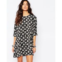 Noisy May Shift Dress With Rose Print ($45) ❤ liked on Polyvore featuring dresses, black, loose fitting black dress, black dress, tall black dress, rose print dress e print dress
