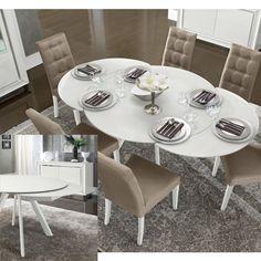 Dama Bianca modern kerek kihúzható étkezőasztal