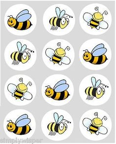 12 Bumble Bee Cupcake Decoration Edible Rice Paper Cake Toppers 40MM