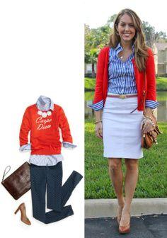@jseverydayfashion /red sweater & striped shirt/