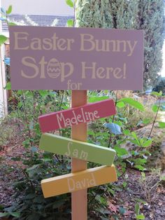 Easter Ship Today Easter Bunny Stop Here Yard Sign Personalized for Your Family. $16.95, via Etsy.