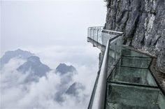 The Glass Walkway at Tianmen Mountain Park is Absolutely Breathtaking - LostWaldo Glass Walkway, Glass Bridge, Tianmen Mountain, Zhangjiajie, Mountain Park, Tiana, Trekking, Places To See, Scary