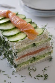 Bread cake with salmon and cucumber - Brenda Cooks - Breadcake with salmon and cucumber - Sandwich Cake, Tea Sandwiches, Salmon Sandwich, Cooking Recipes, Healthy Recipes, Appetisers, High Tea, Food Inspiration, Love Food
