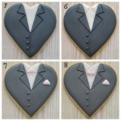 Final four steps in creating groom on a heart decorated cookie for wedding favours, by Honeycat Cookies Fancy Cookies, Heart Cookies, Cute Cookies, Cut Out Cookies, Cupcake Cookies, Owl Cookies, Summer Cookies, Cookie Favors, Flower Cookies