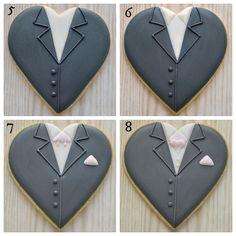Acabado pasos para hacer el novio en una galleta del corazón