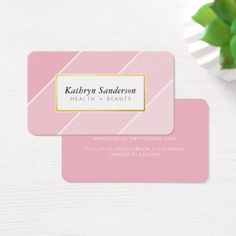 #makeupartist #businesscards - #OMBRE STRIPE modern stylish chic pink faux gold Business Card